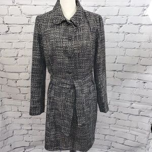 Gap Black & White Belted Tweed Trench Coat